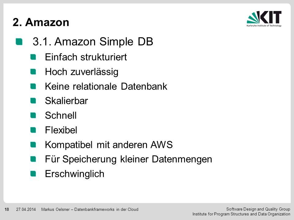 2. Amazon 3.1. Amazon Simple DB Einfach strukturiert Hoch zuverlässig