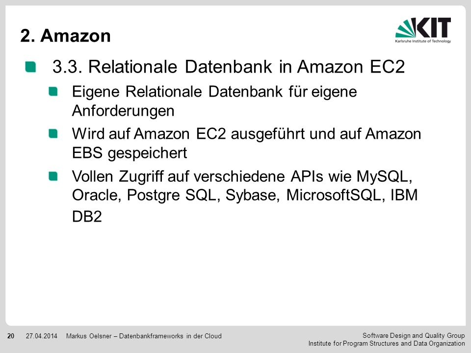 3.3. Relationale Datenbank in Amazon EC2