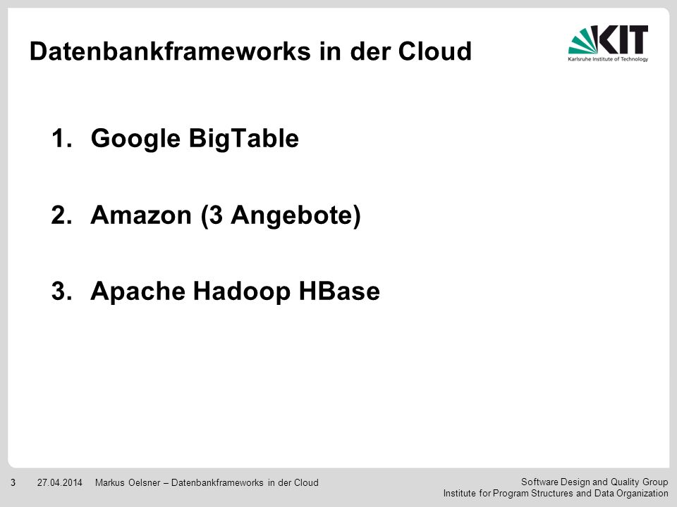 Datenbankframeworks in der Cloud