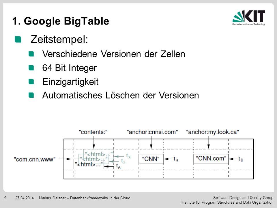 1. Google BigTable Zeitstempel: Verschiedene Versionen der Zellen