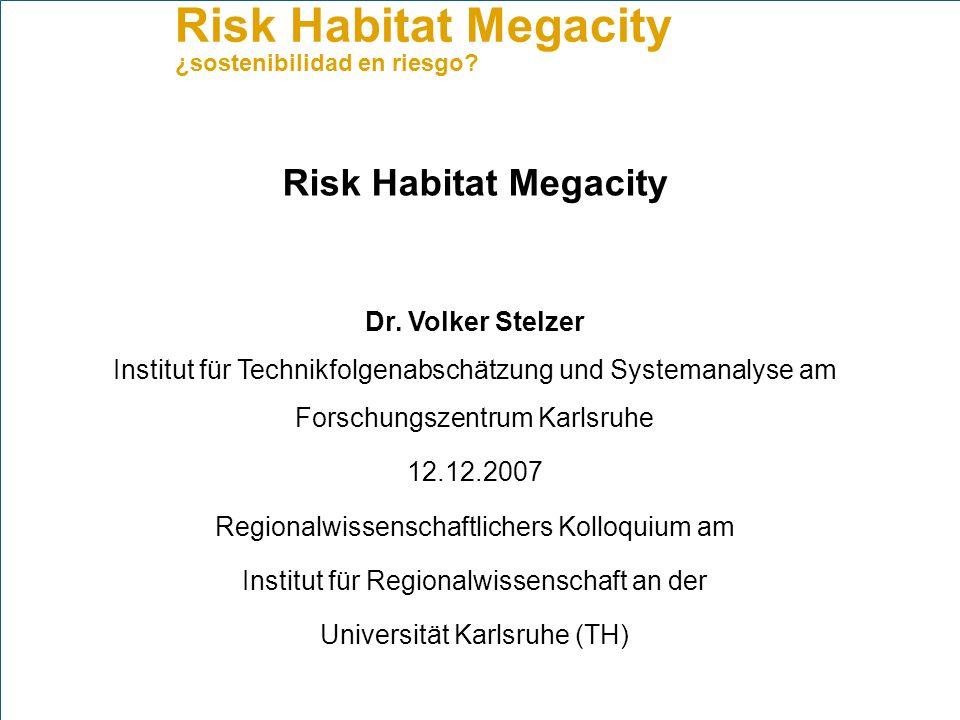 Risk Habitat Megacity Dr. Volker Stelzer