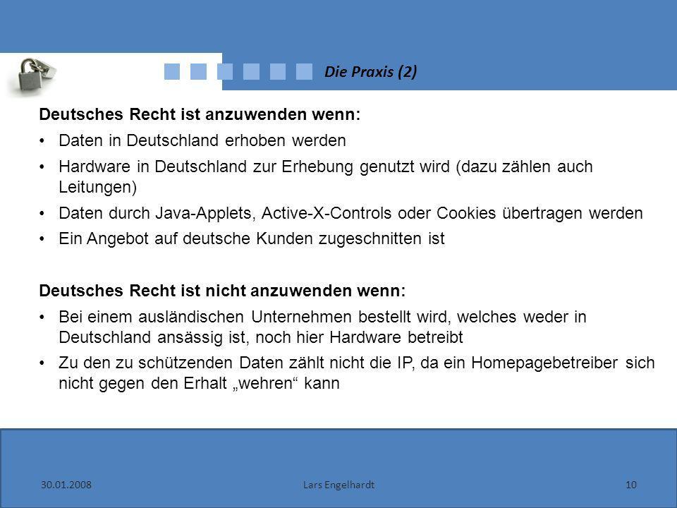 Deutsches Recht ist anzuwenden wenn: