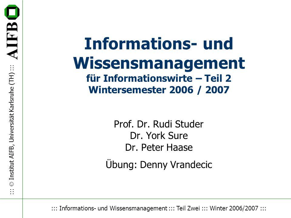 Wissensmanagement Informations- und Wissensmanagement für Informationswirte – Teil 2 Wintersemester 2006 / 2007.