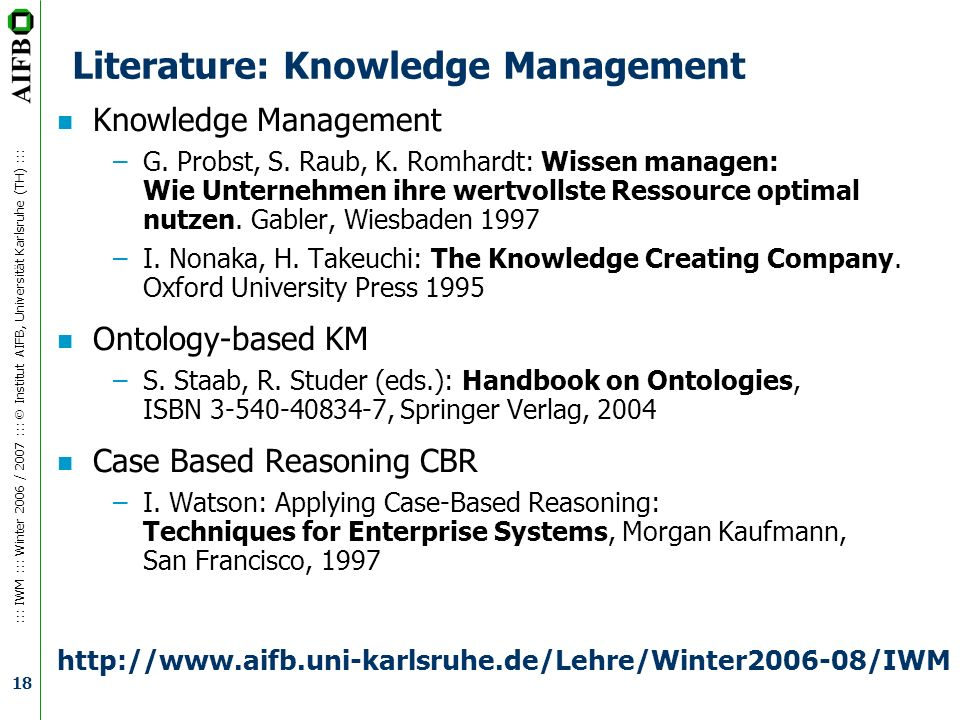 Literature: Knowledge Management