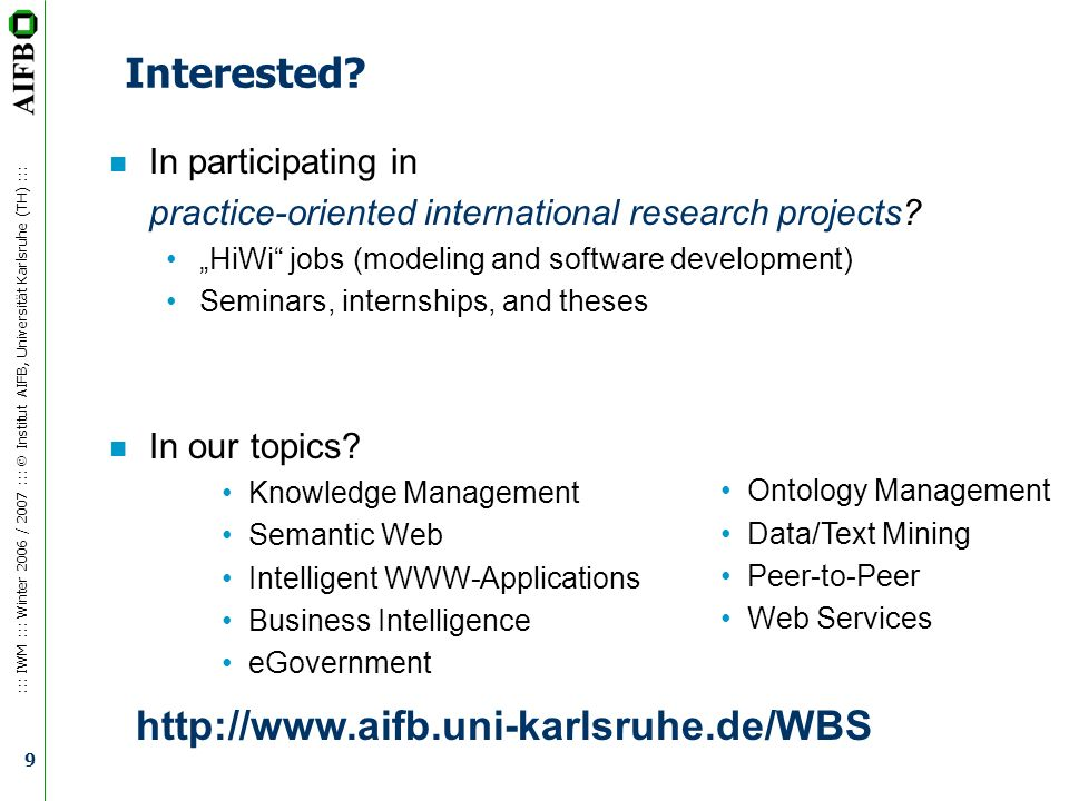 Interested http://www.aifb.uni-karlsruhe.de/WBS In participating in