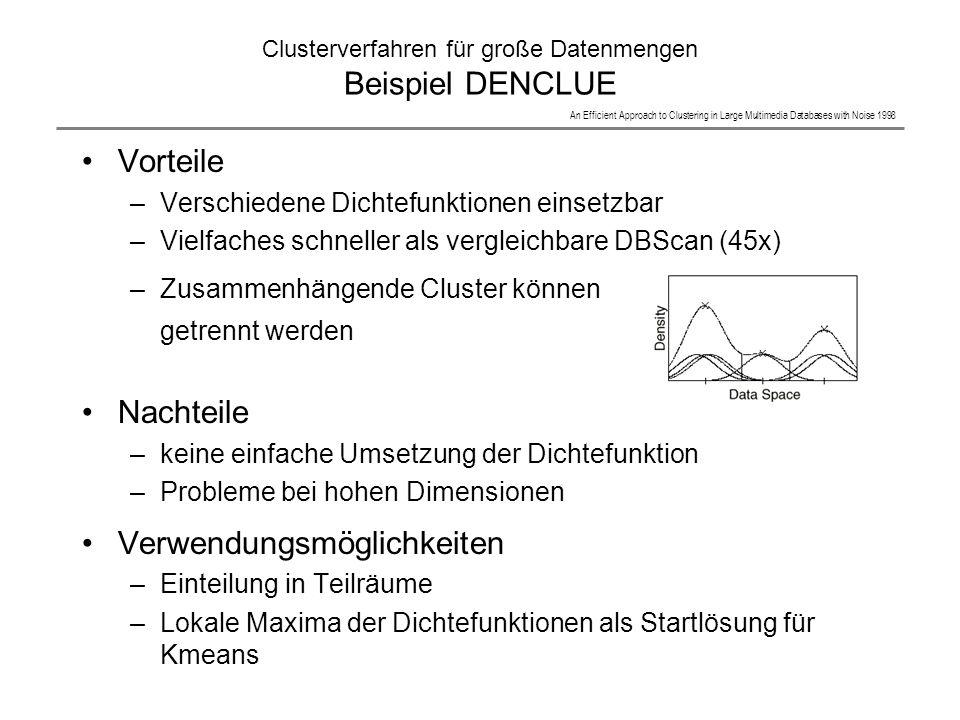 Clusterverfahren für große Datenmengen Beispiel DENCLUE