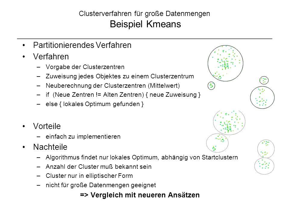 Clusterverfahren für große Datenmengen Beispiel Kmeans