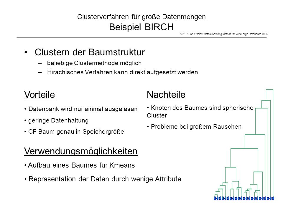 Clusterverfahren für große Datenmengen Beispiel BIRCH