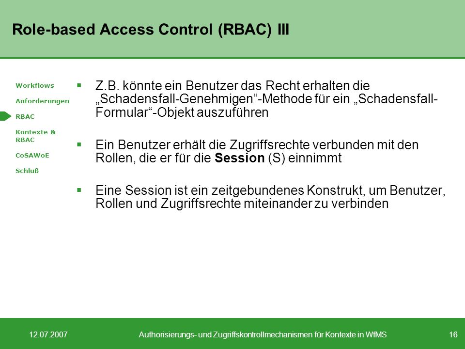 Role-based Access Control (RBAC) III