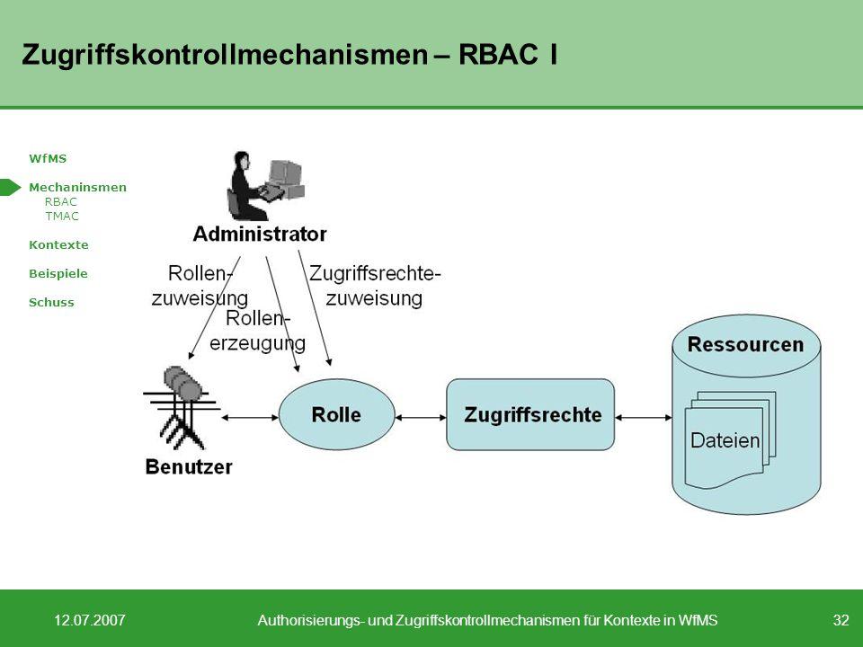 Zugriffskontrollmechanismen – RBAC I
