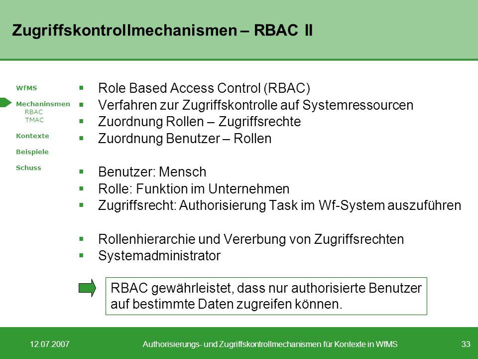 Zugriffskontrollmechanismen – RBAC II
