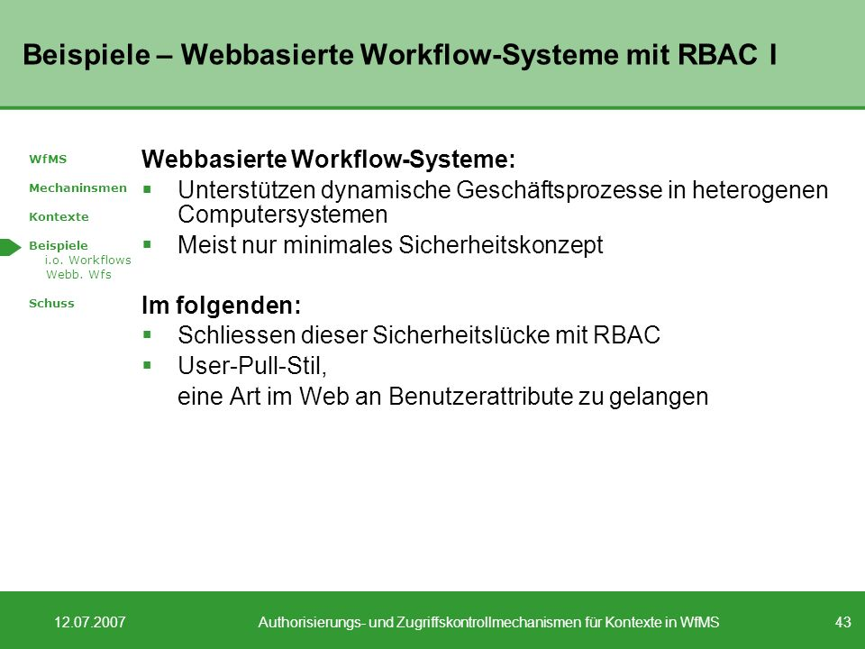 Beispiele – Webbasierte Workflow-Systeme mit RBAC I