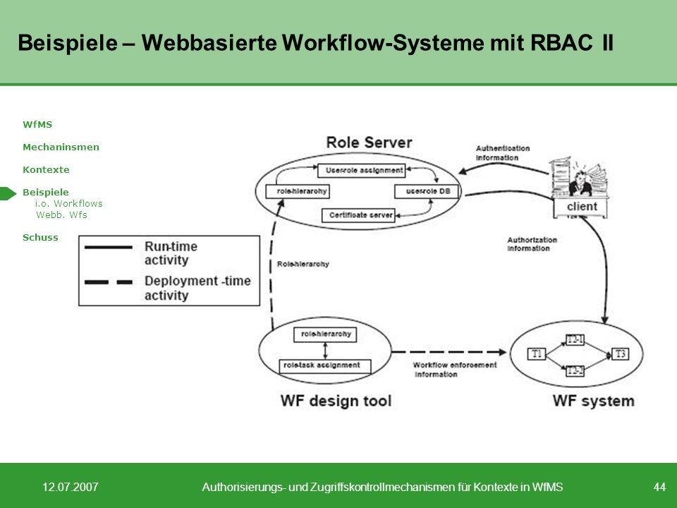 Beispiele – Webbasierte Workflow-Systeme mit RBAC II