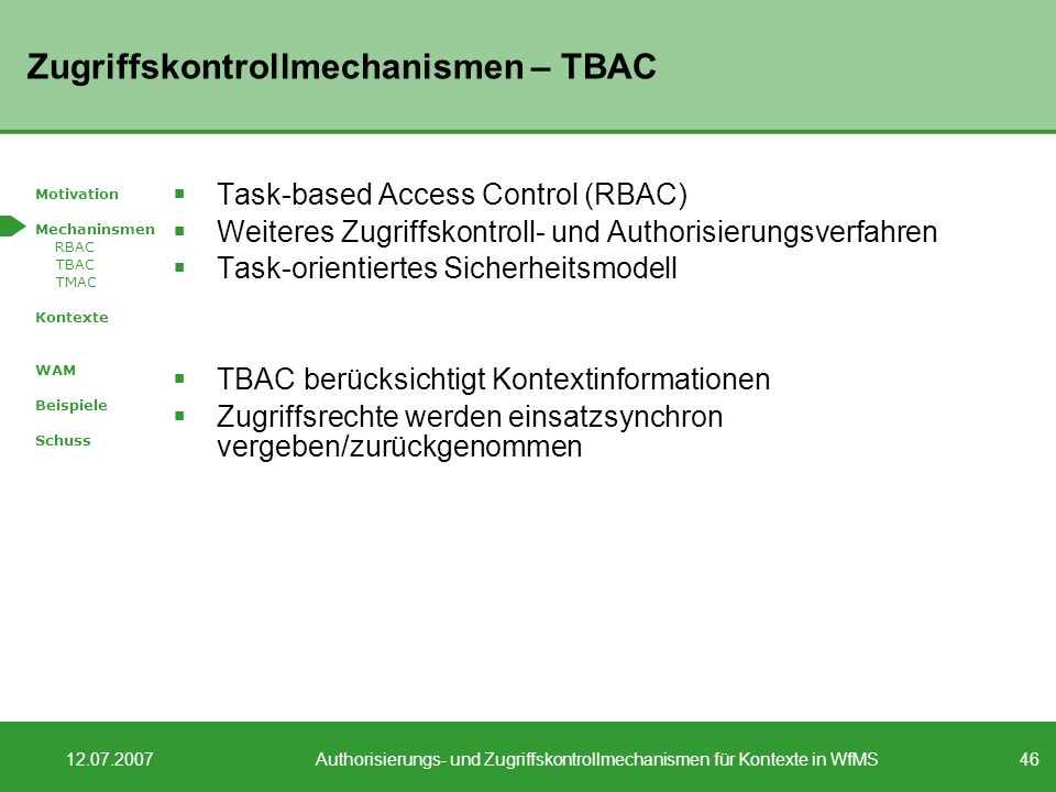 Zugriffskontrollmechanismen – TBAC