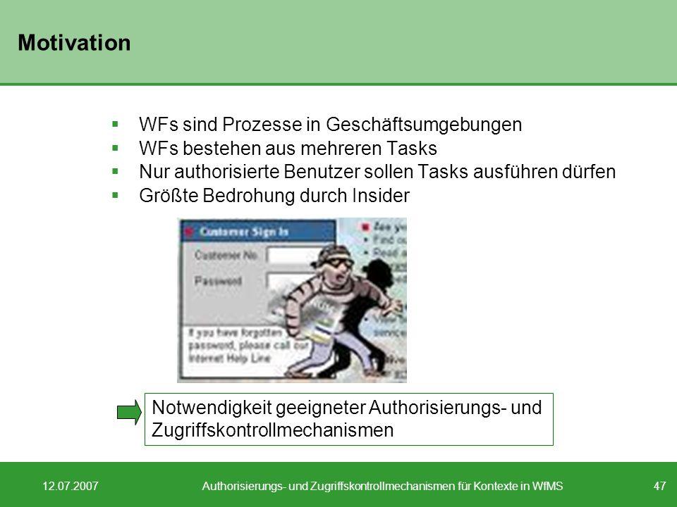 Authorisierungs- und Zugriffskontrollmechanismen für Kontexte in WfMS