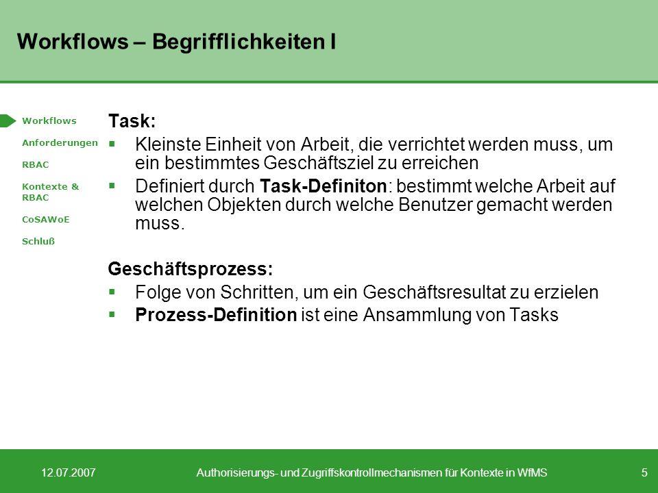 Workflows – Begrifflichkeiten I