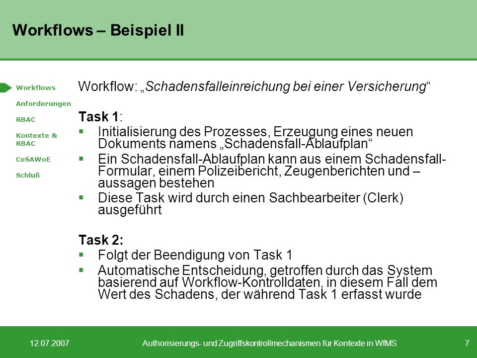Workflows – Beispiel II