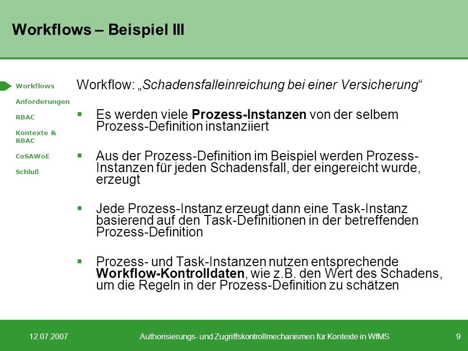 Workflows – Beispiel III