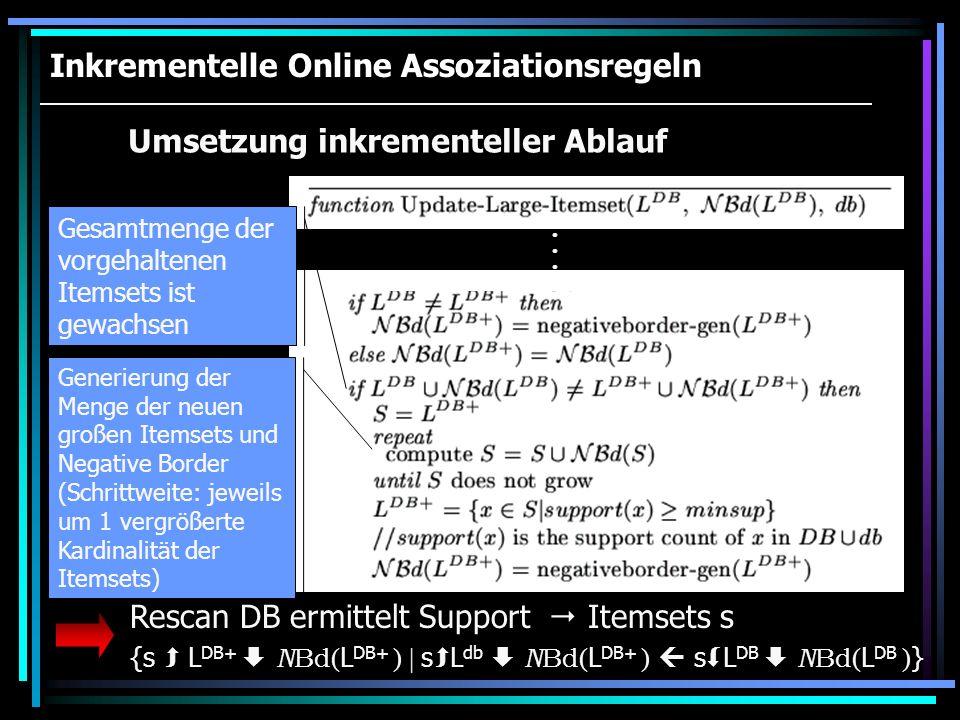 Inkrementelle Online Assoziationsregeln
