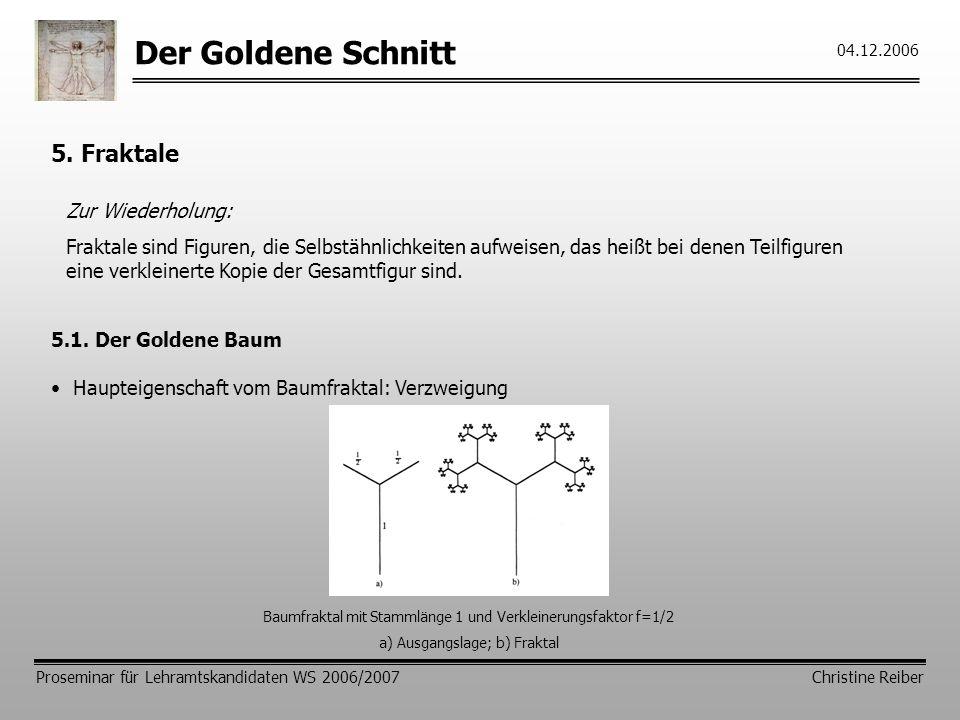 Der Goldene Schnitt 5. Fraktale Zur Wiederholung: