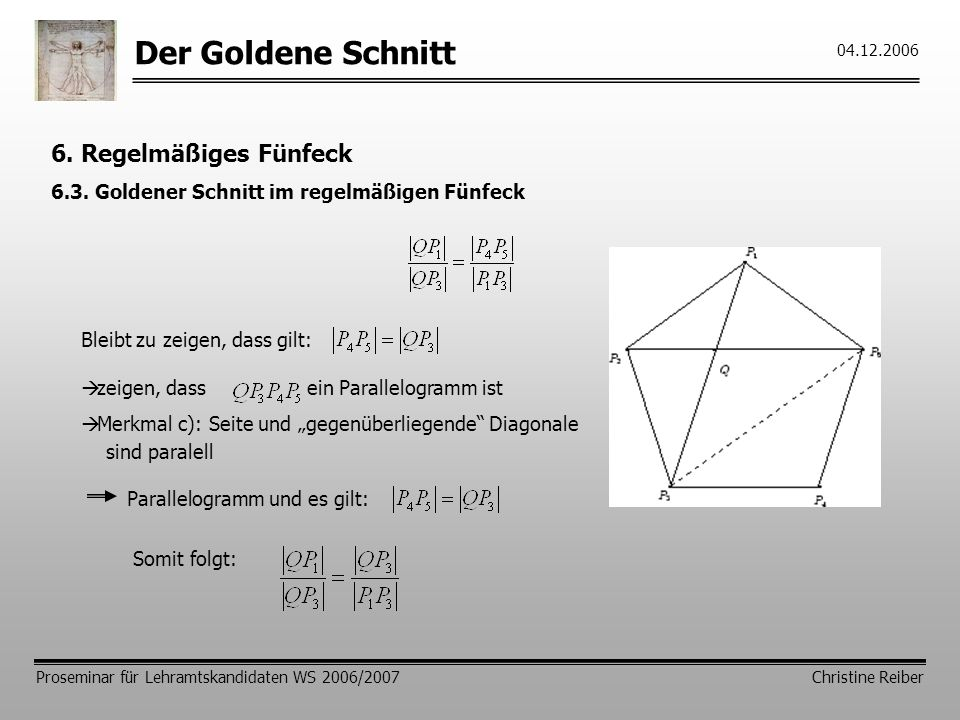 Der Goldene Schnitt 6. Regelmäßiges Fünfeck