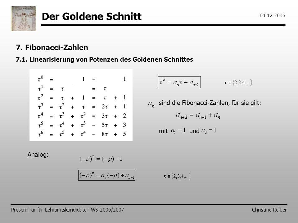 Der Goldene Schnitt 7. Fibonacci-Zahlen