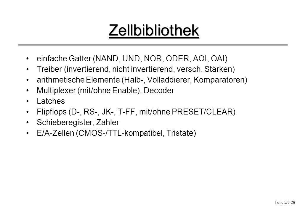 Zellbibliothek einfache Gatter (NAND, UND, NOR, ODER, AOI, OAI)