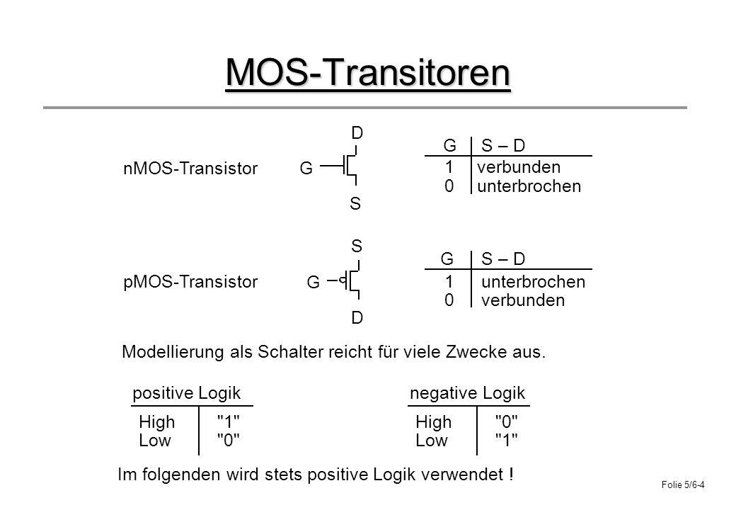 MOS-Transitoren G D S S – D nMOS-Transistor pMOS-Transistor verbunden
