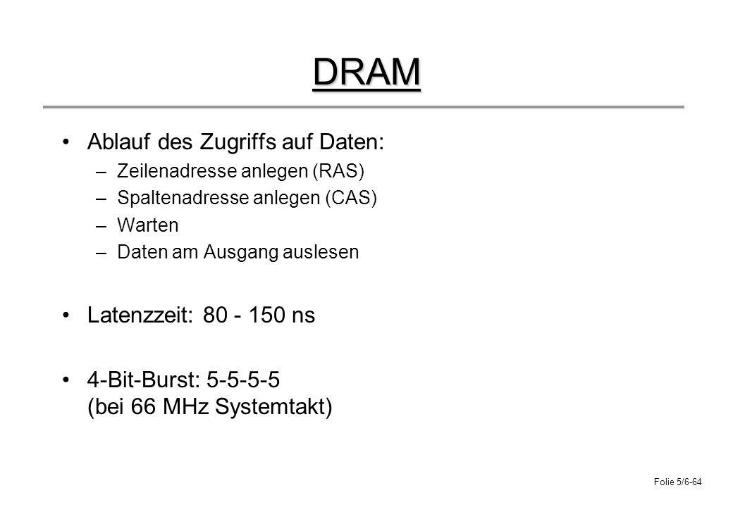 DRAM Ablauf des Zugriffs auf Daten: Latenzzeit: 80 - 150 ns