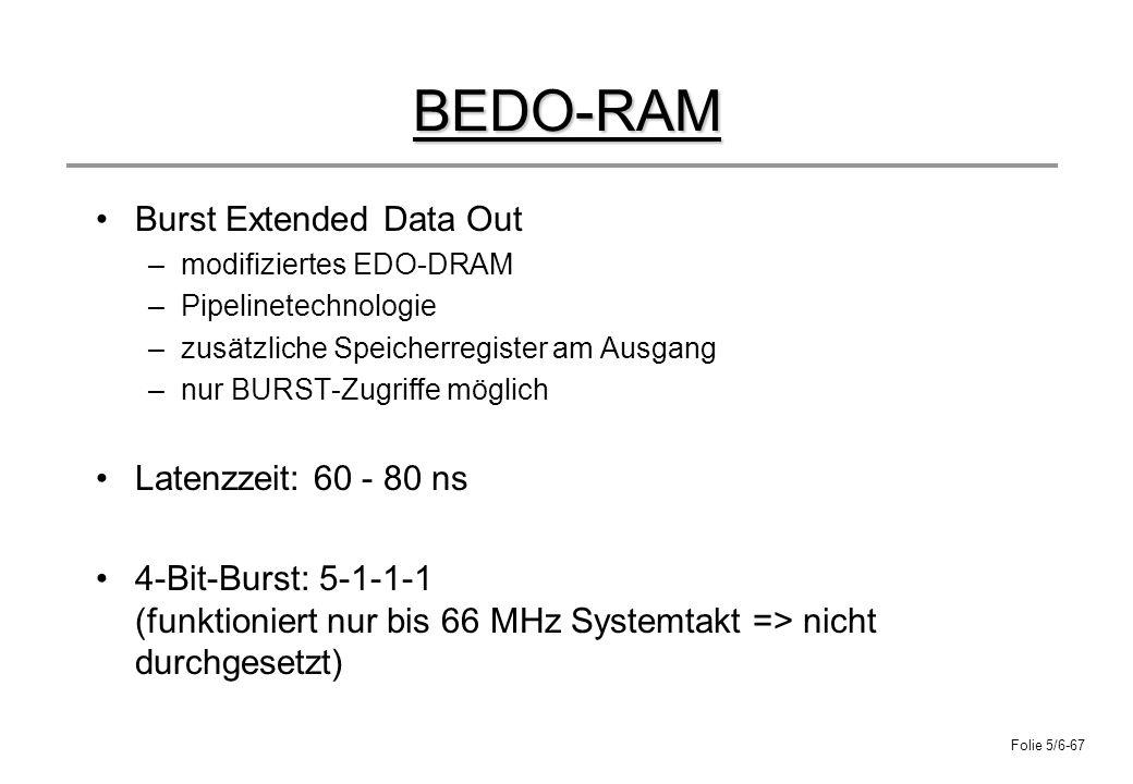 BEDO-RAM Burst Extended Data Out Latenzzeit: 60 - 80 ns