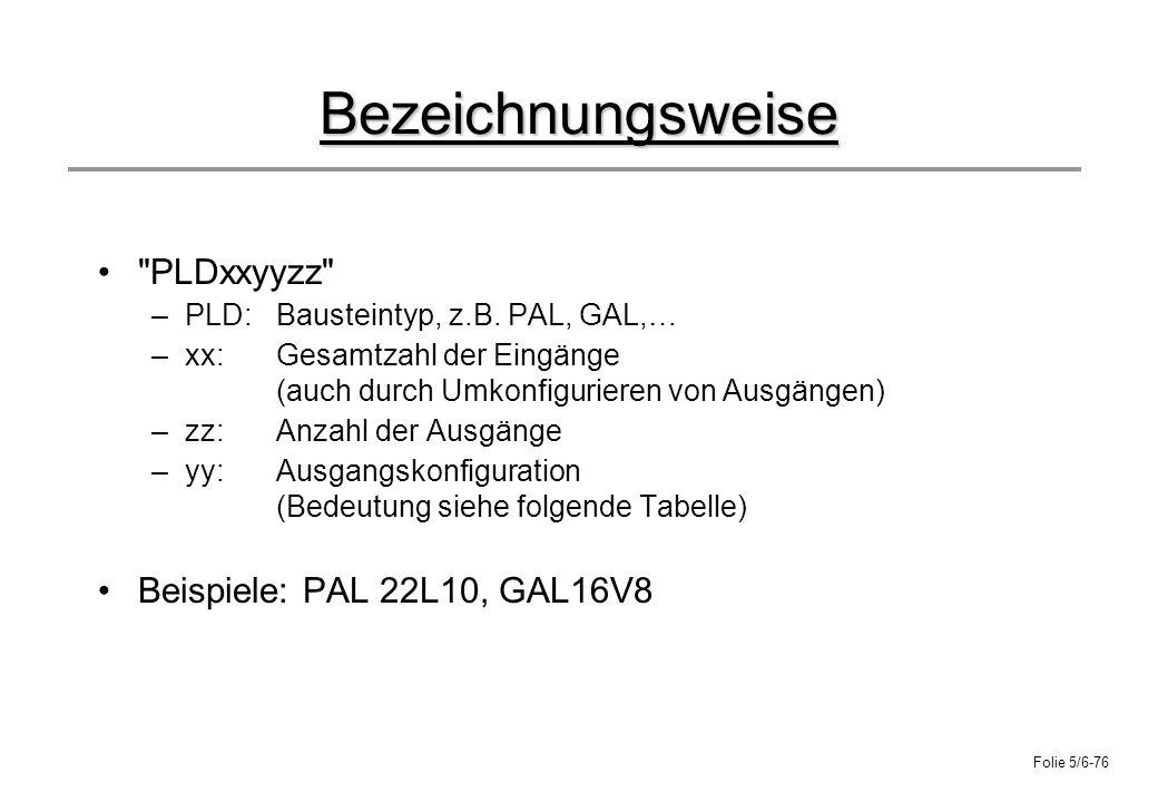 Bezeichnungsweise PLDxxyyzz Beispiele: PAL 22L10, GAL16V8