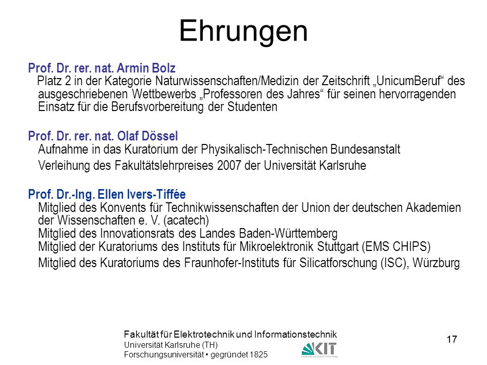Ehrungen Prof. Dr. rer. nat. Armin Bolz