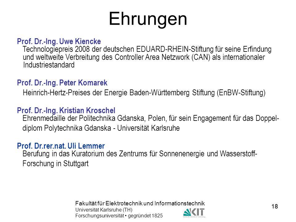 Ehrungen Prof. Dr.-Ing. Uwe Kiencke