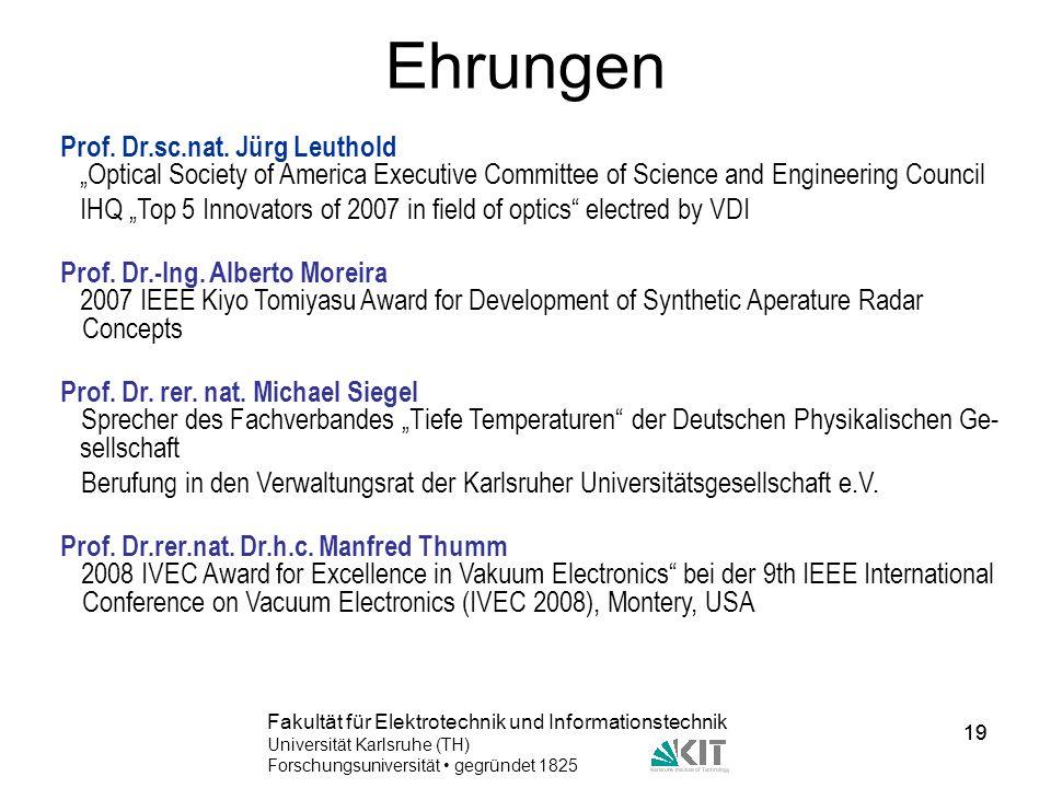 Ehrungen Prof. Dr.sc.nat. Jürg Leuthold