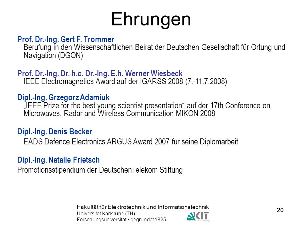 Ehrungen Prof. Dr.-Ing. Gert F. Trommer