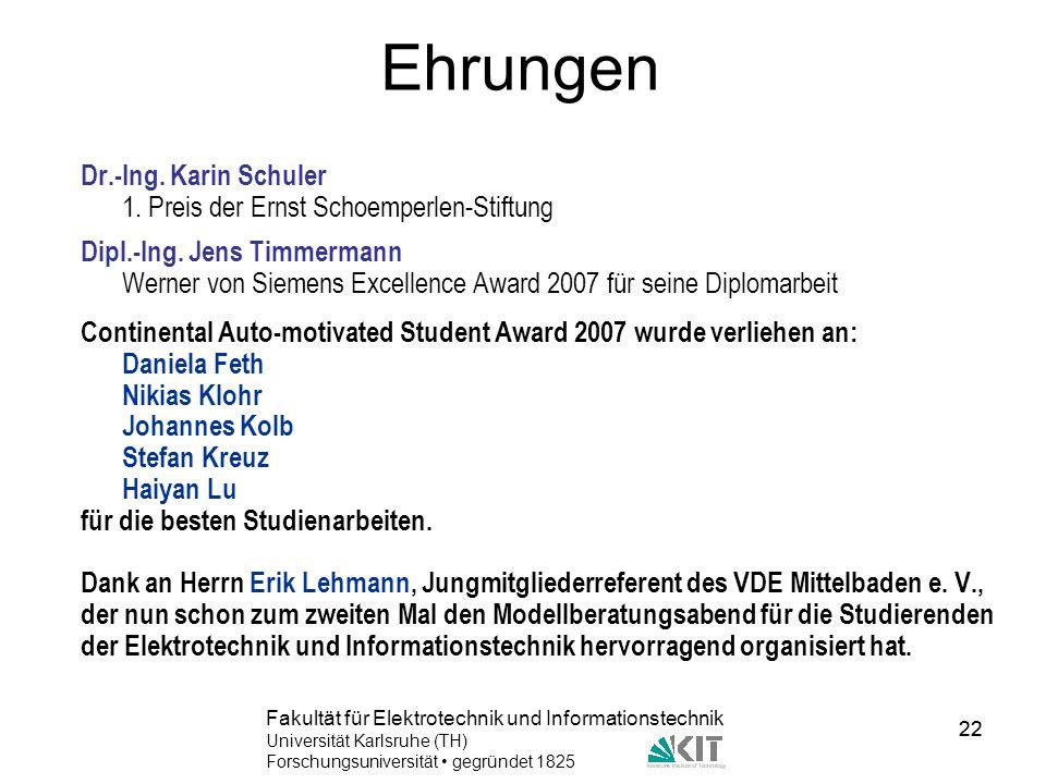 Ehrungen Dr.-Ing. Karin Schuler