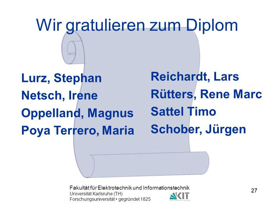 Wir gratulieren zum Diplom