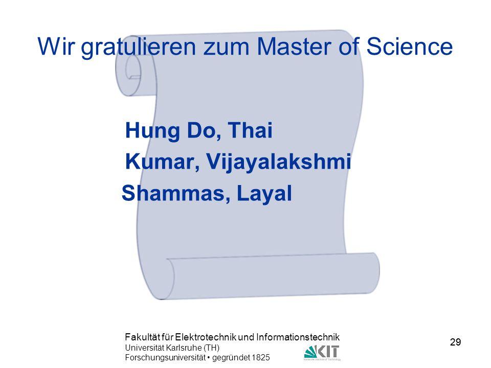 Wir gratulieren zum Master of Science