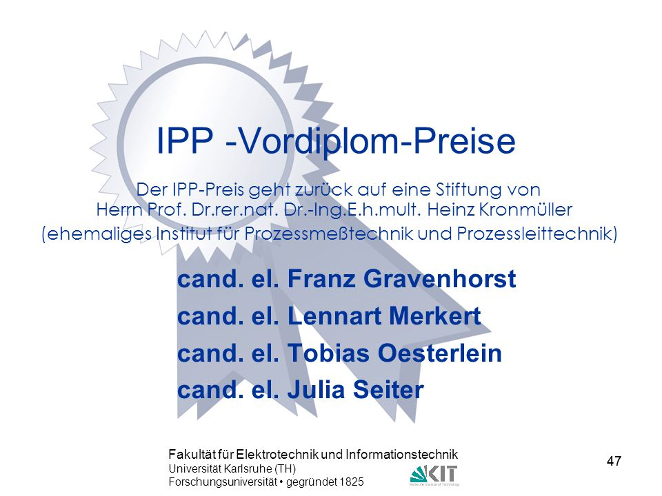IPP -Vordiplom-Preise