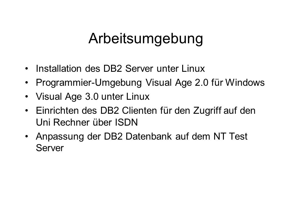 Arbeitsumgebung Installation des DB2 Server unter Linux