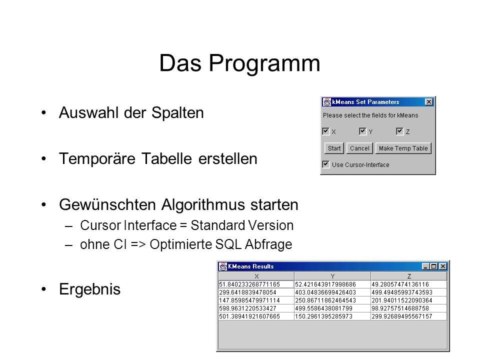 Das Programm Auswahl der Spalten Temporäre Tabelle erstellen