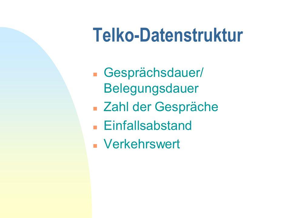 Telko-Datenstruktur Gesprächsdauer/ Belegungsdauer Zahl der Gespräche