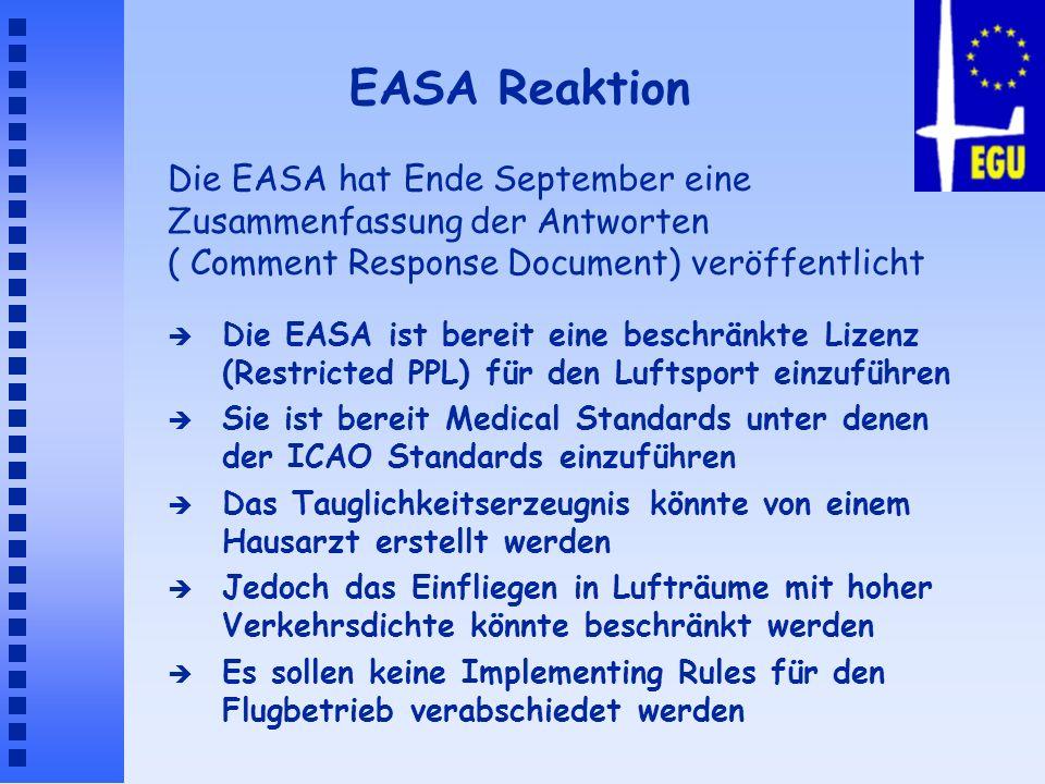 EASA Reaktion Die EASA hat Ende September eine Zusammenfassung der Antworten ( Comment Response Document) veröffentlicht.