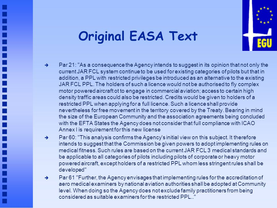 Original EASA Text