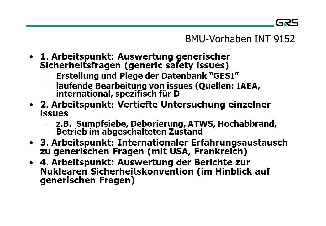 BMU-Vorhaben INT 9152 1. Arbeitspunkt: Auswertung generischer Sicherheitsfragen (generic safety issues)