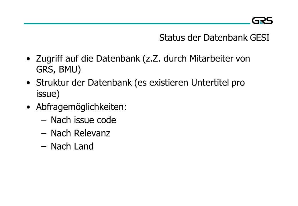 Status der Datenbank GESI