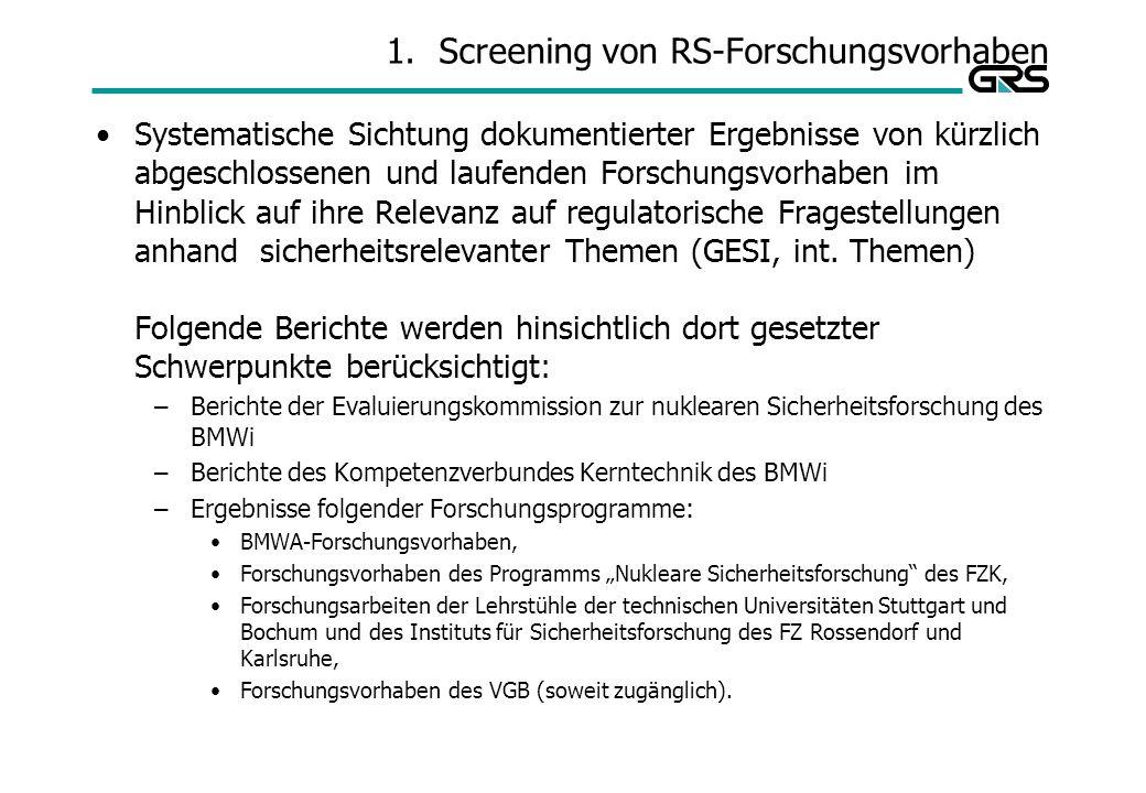 Screening von RS-Forschungsvorhaben