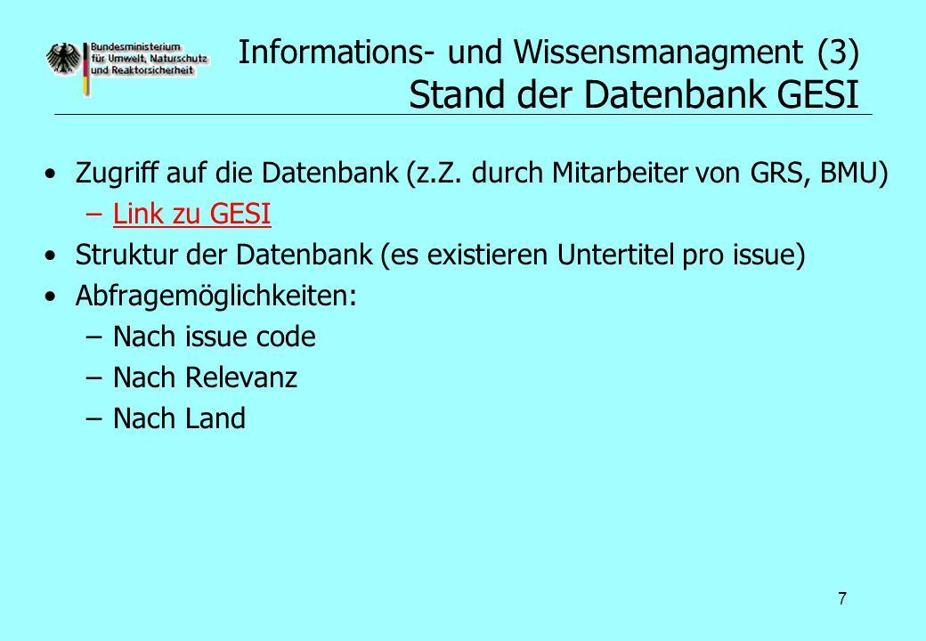 Informations- und Wissensmanagment (3) Stand der Datenbank GESI