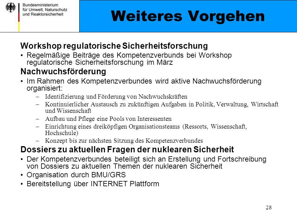 Weiteres Vorgehen Workshop regulatorische Sicherheitsforschung