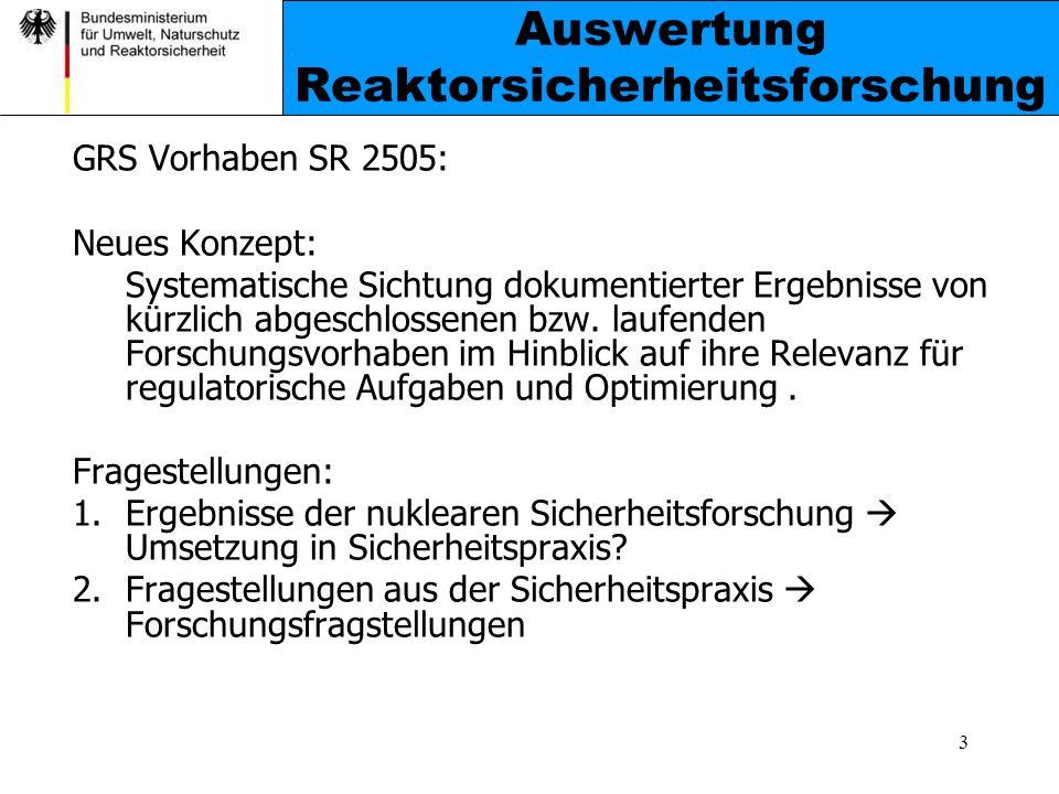 Auswertung Reaktorsicherheitsforschung